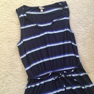 Merona Dress in Navy Blue with Pink & Teal Stripes